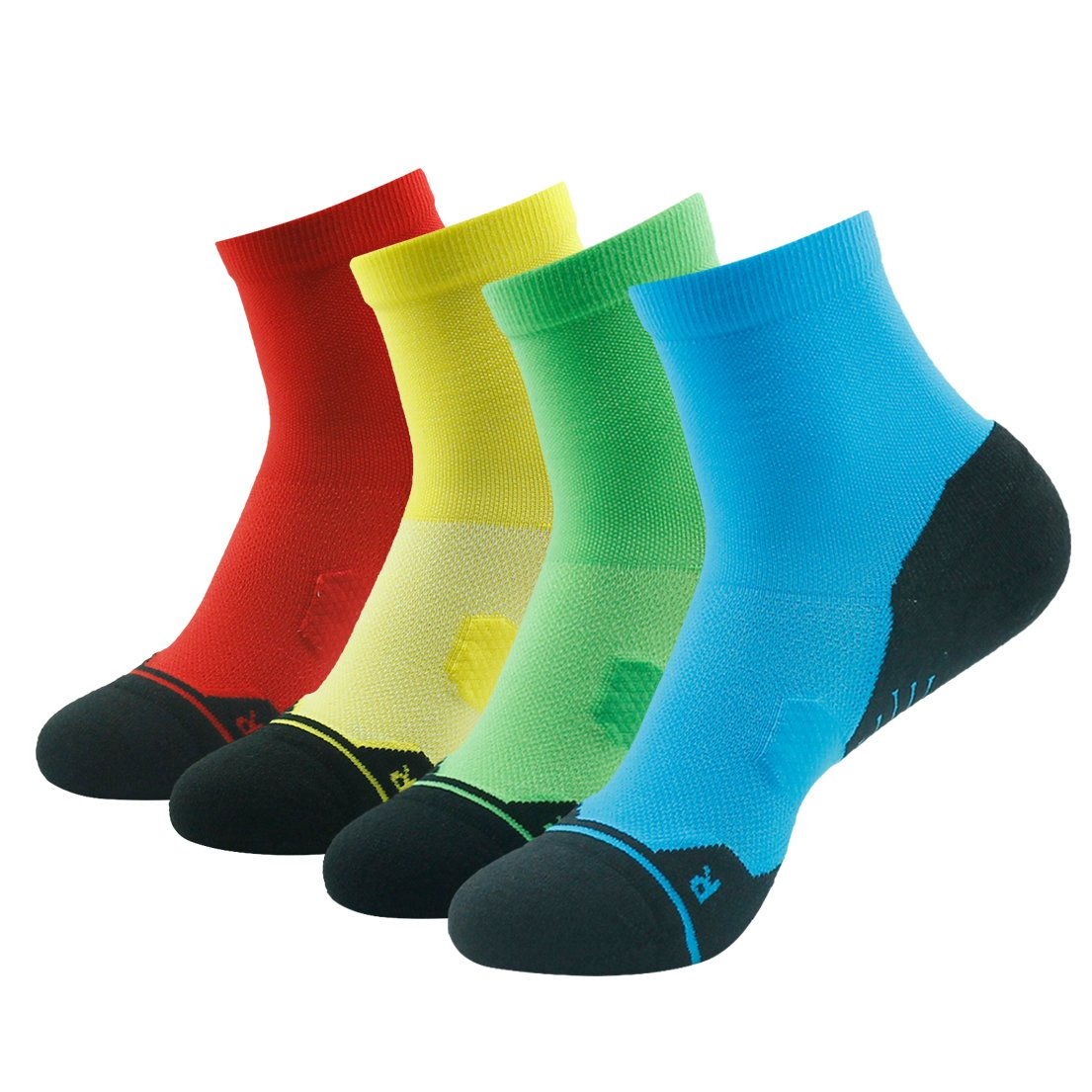 4 Pair bluee&green&yellow&red Running Socks Support, HUSO Men Women High Performance Arch Compression Cushioned Quarter Socks 1,2,3,4,6 Pairs