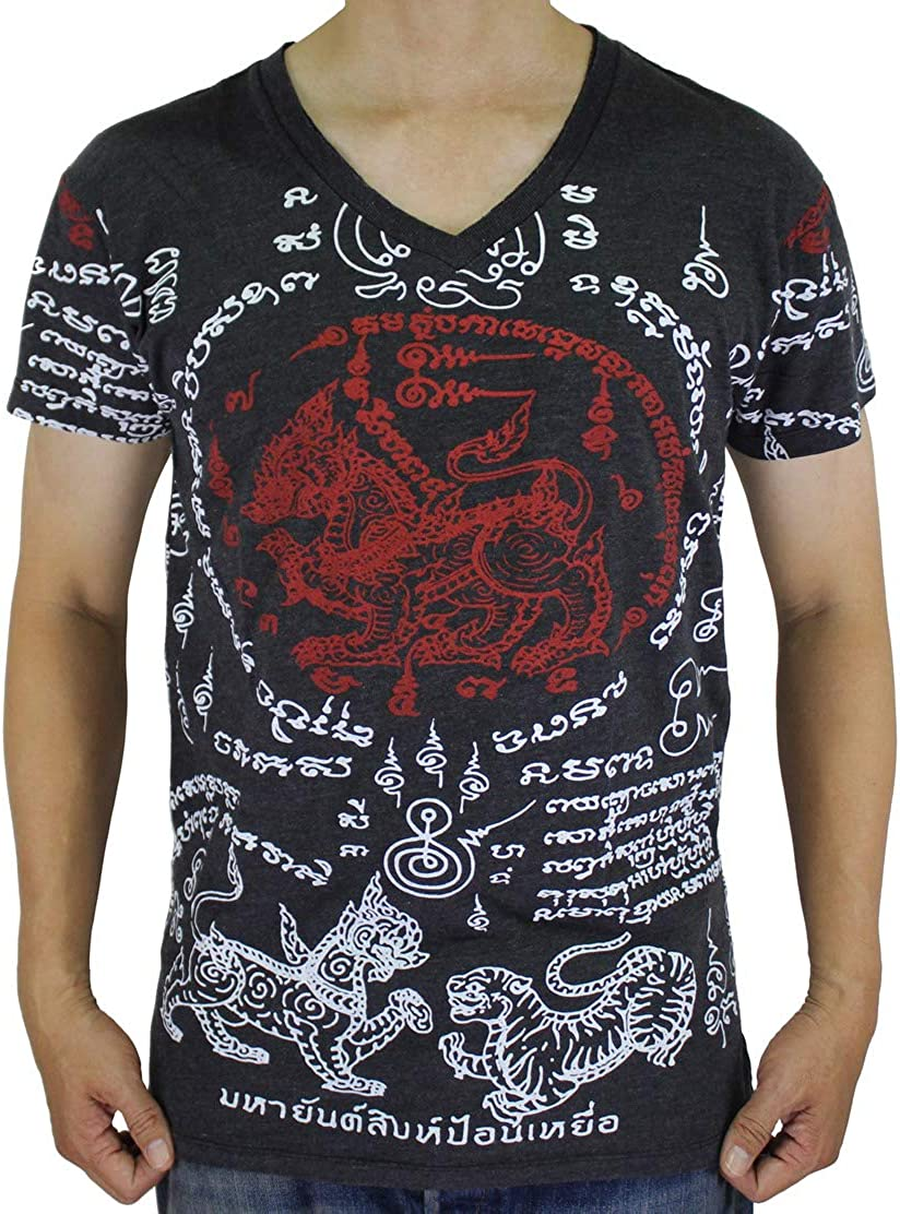 Work Tiger Muay Thai Tattoo Sak Yant Traditional Yantra Men Black T-Shirt WK12.2 Size X-Large