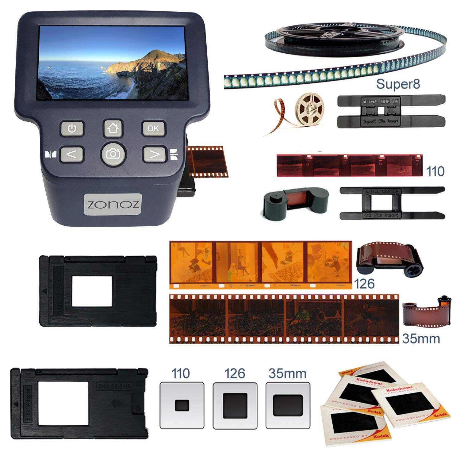 zonoz FS-Four Digital Film & Slide Scanner Converter w/HDMI Output - Converts 35mm, 126, 110, Super 8 & 8mm Film Negatives & Slides to JPEG - Large 5'' LCD, Easy-Load Adapters (Worldwide 110V-220V) by zonoz (Image #3)