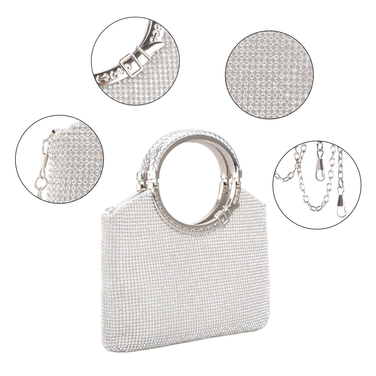 Clutch Evening Bag, Fit & Wit Giltter Beaded Flap Clutch Evening Handbag Purse (Style 1) by Fit&Wit (Image #3)