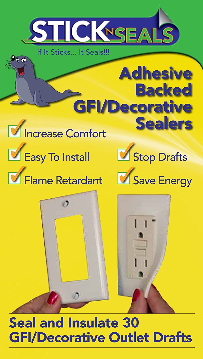 Stick N Seal Adhesive Backed Gfi Decorative Outlet Draft Sealers Removing The Old Gfci Save Energy And Money Pack Of 30 Insulation