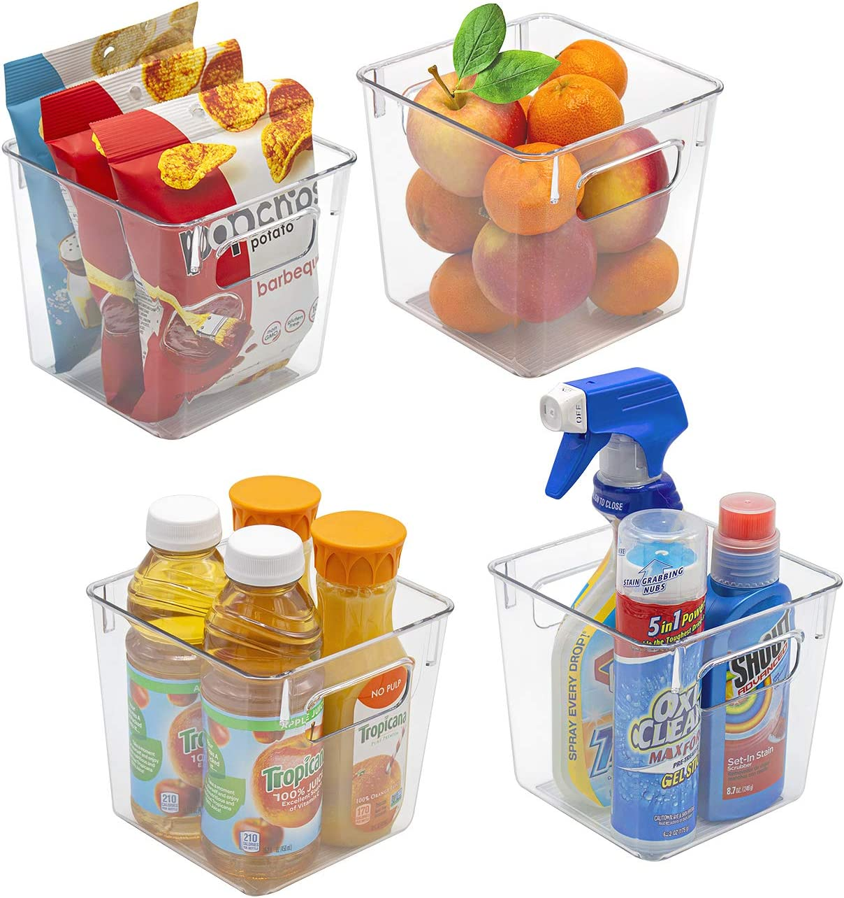 Sorbus Plastic Storage Bins Clear Pantry Organizer Box Bin Containers for Organizing Kitchen Fridge, Food, Snack Pantry Cabinet, Fruit, Vegetables, Bathroom Supplies, (Square, 4-Pack)