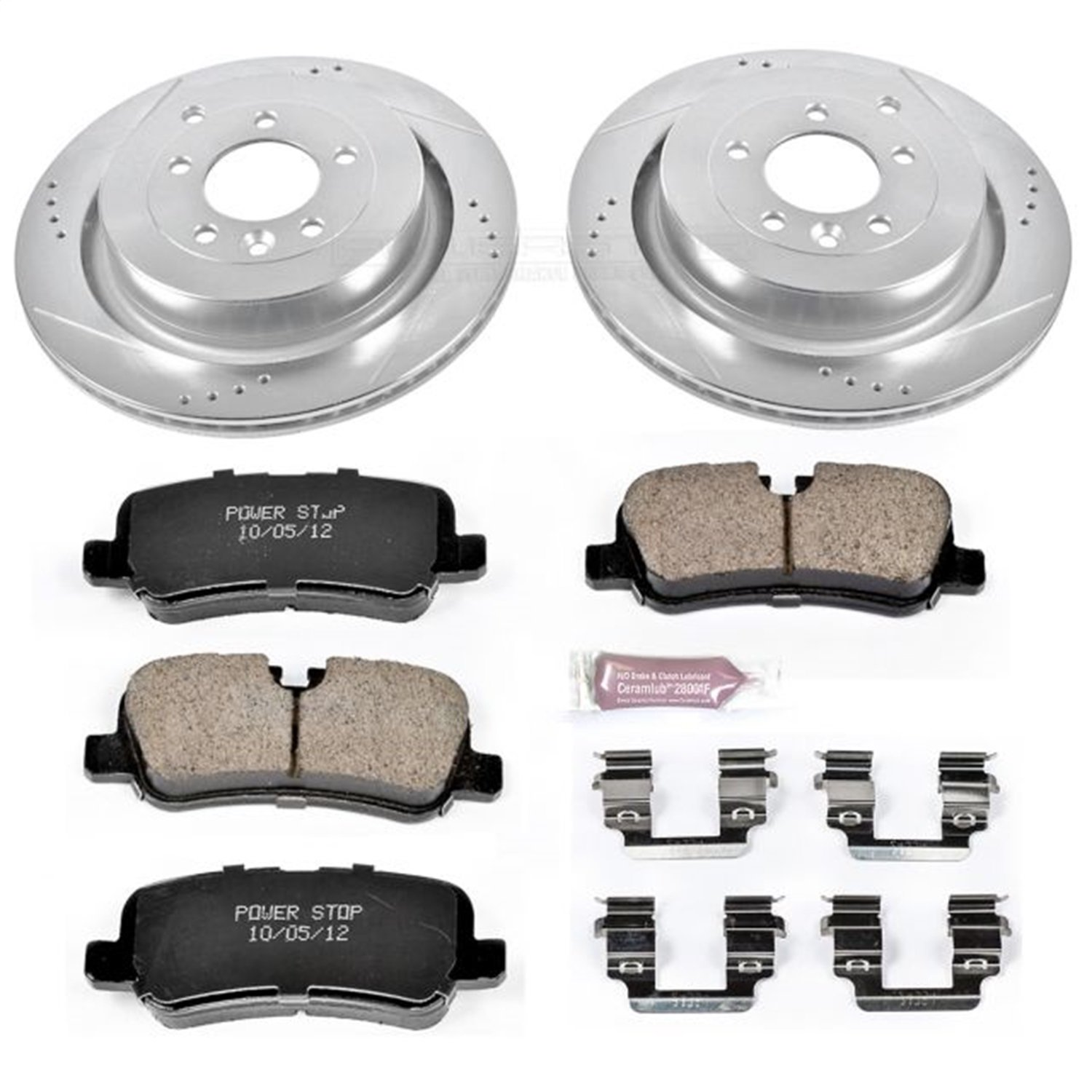 Power Stop K6564 Rear Z23 Evolution Brake Kit with Drilled//Slotted Rotors and Ceramic Brake Pads