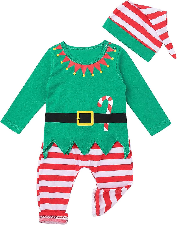Weihnachtsm/ütze Xmas Elf Outfit 0-18 Monate Hosen YiZYiF 3 St/ück Baby Jungen M/ädchen Weihnachten Kost/üm Weihnachtself Cosplay Langarm Shirt