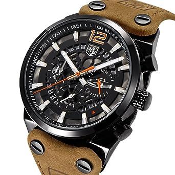 Mens Watches BENYAR Fashion Business Quartz Waterproof Watch-Leather Watch Date Display (Black,