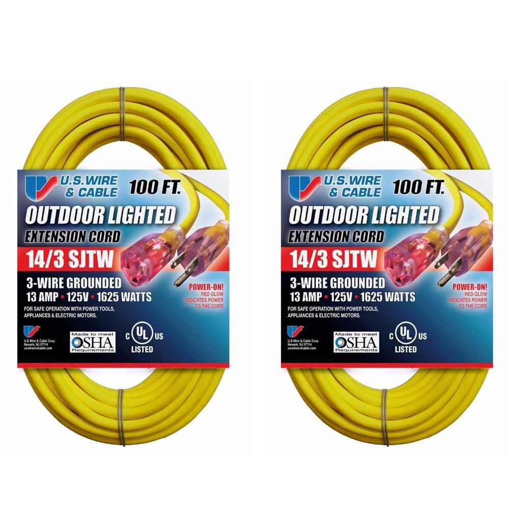 Us Wire And Cable 14 3 100 Feet Sjtw Yellow Lighted Electrical Code Outdoor Wiring Extension Cord Garden