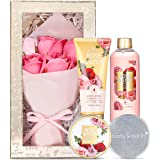 Gift Set for Women, Birthday Gift Box for Her - 5 Piece Rose Scent Womens Bath Sets, Includes Shower Gel, Body Scrub, Body Lo