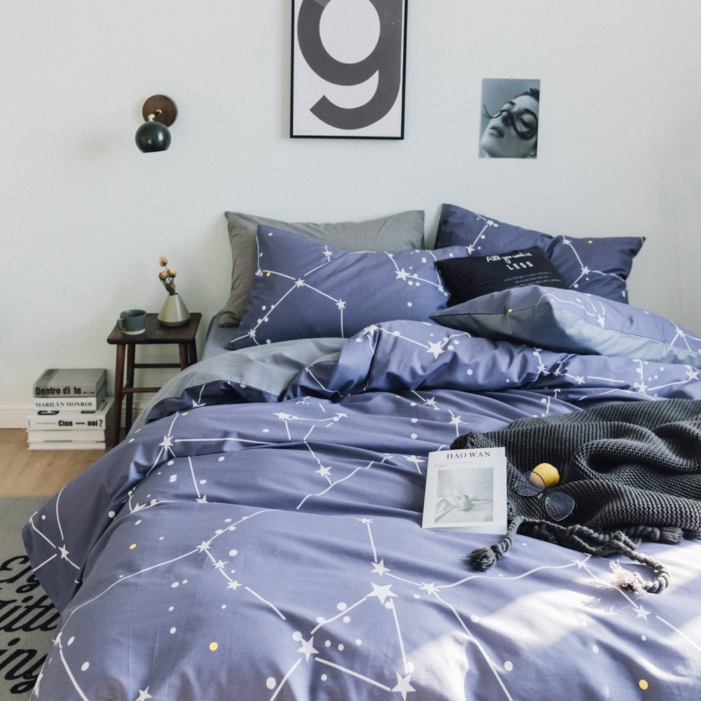 Hyprest Star Map Cotton Duvet Cover Set Queen Simple Printed Comforter Cover Set Blue by