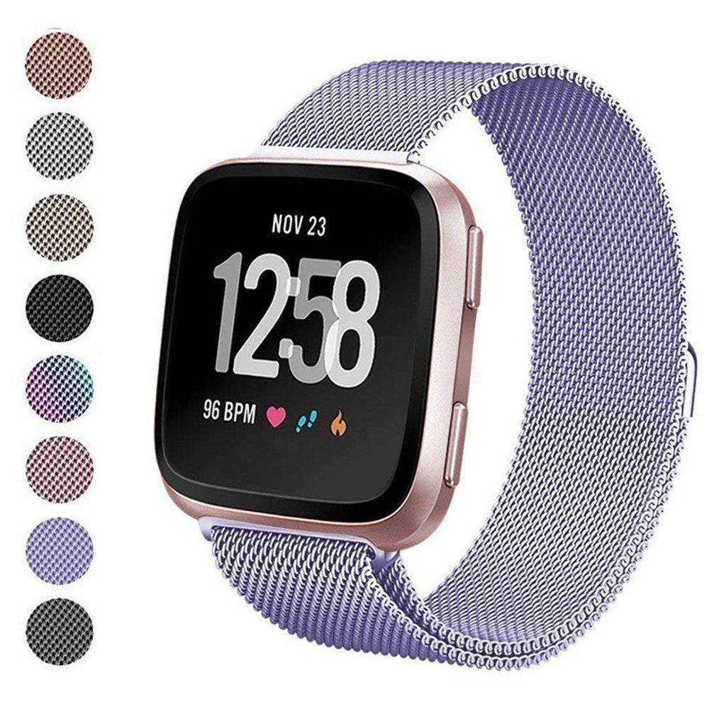 Deyo for Fitbit Versaバンド、ステンレススチールミラネーゼループメタル交換ブレスレットFitbit Versa Fitnessスマートウォッチスポーツストラップマグネット開閉with Accessories Wristbands forレディースメンズ Small 5.5