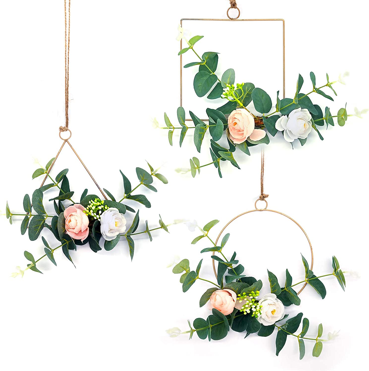 Onlyhome Hanging Hoop Flowers Wreath for Decoration, Rose and Eucalyptus Greenery Floral Hoop Wreath for Home and Wedding Decor, Set of 3
