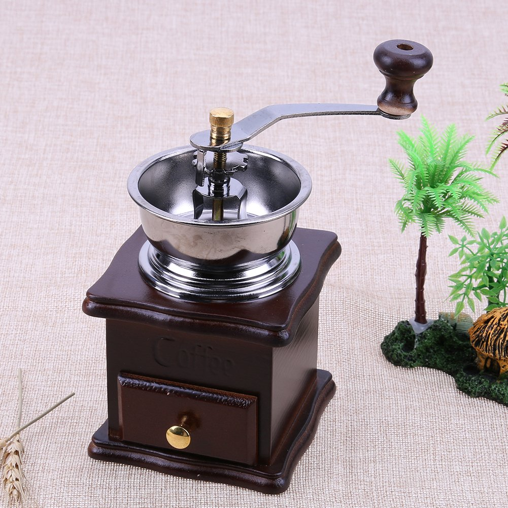 Matefield Mini Manual Coffee Mill Wood Stand Bowl Antique Hand Coffee Bean Grinder by Matefield (Image #4)