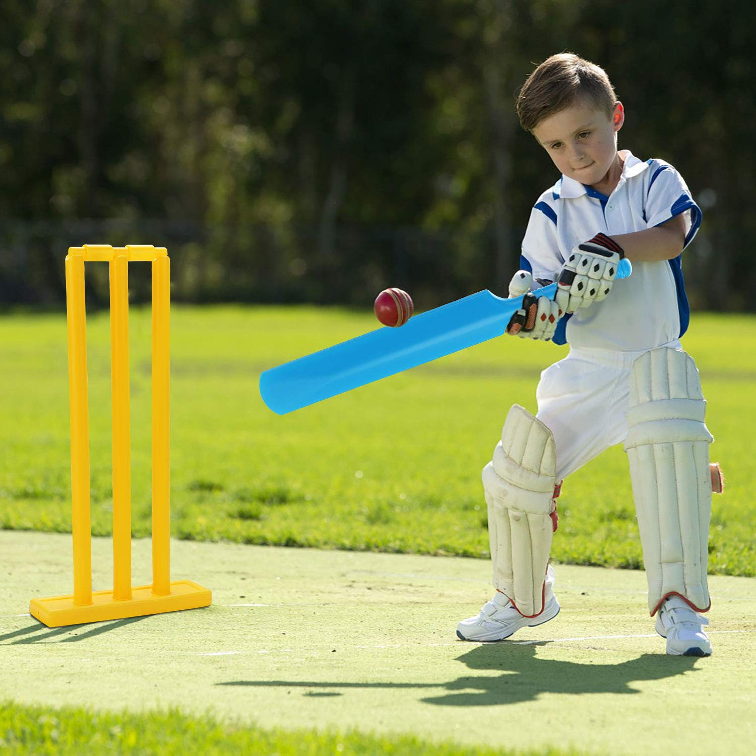 Fansport Cricket Set for Kids, Beach Cricket Equipment, Kwik Cricket, Creative Sports Game Set Ball Game Set for Backyard, NBR Rubber Water Proof Contents Bat, Ball, Stumps, Bail