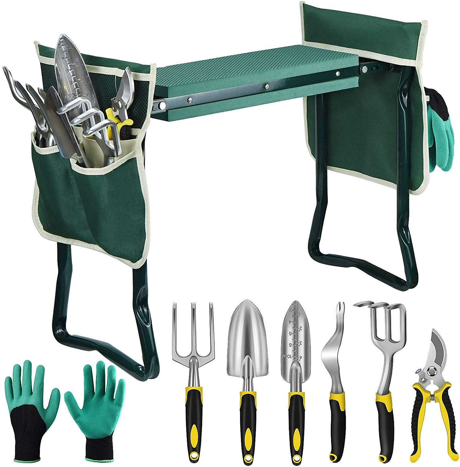 EAONE Garden Kneeler and Seat Foldable Garden Bench Stool with Soft Kneeling Pad, 6 Garden Tools, Tool Pouches and Gardening Glove for Women Mother's Day Gardening Gifts, Protecting Your Knees & Hands