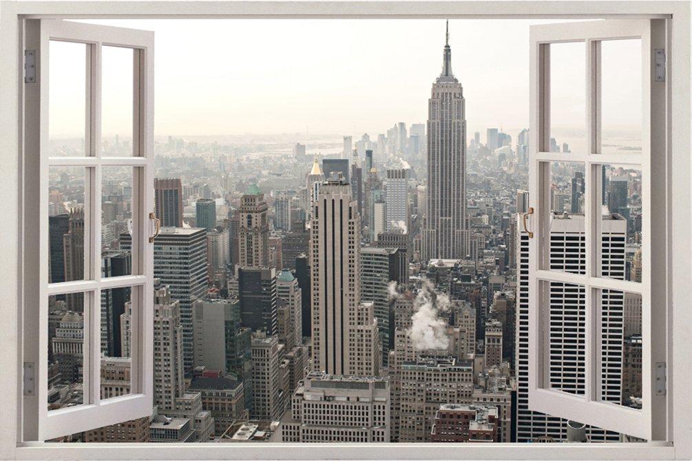 ニューヨーク シーティ 都会 景色 自宅 会社 キッチン 子供部屋 キッツ ギフト 3D 独特 ユニーク 窓 奥行 おしゃれ ビニール樹脂 印刷 取り外しのきく 壁 ステッカー ウォールステッカー サイズ 85.09 × 119.38 cm B00LBJD3BC WIN-058 WIN-058
