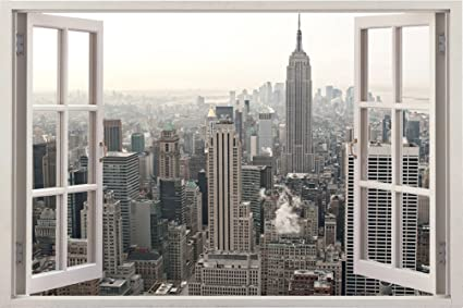 Realistic New York Poster Window Wall Decal U2013 Peel And Stick Urban Decor  For Living Room