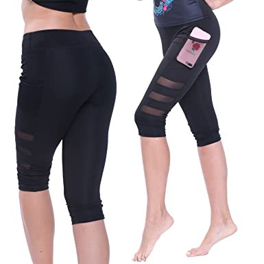 1051338ef75db Fittoo Women's Yoga Pants with Side Pockets Workout Capris Leggings Tights  for Running (S,