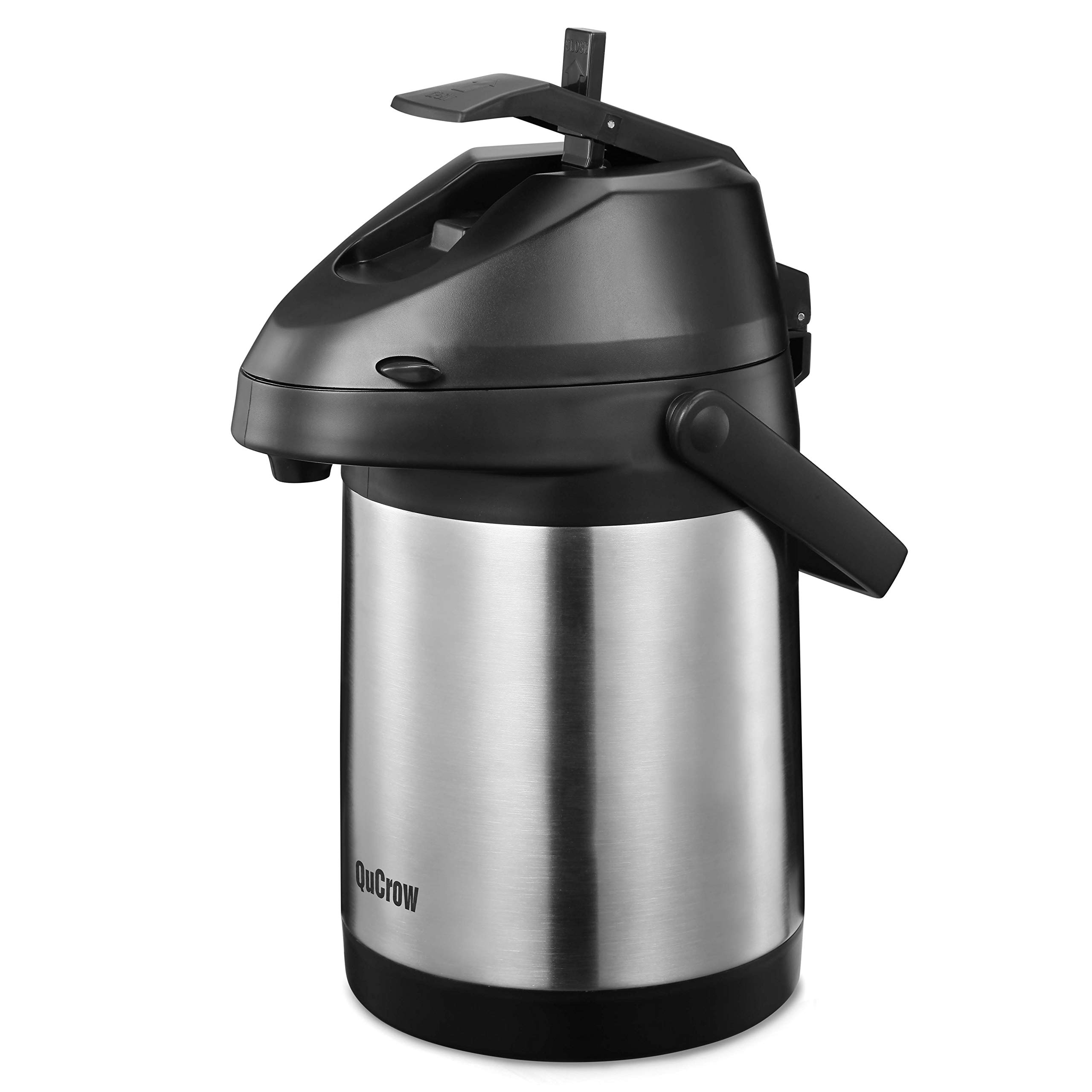 QuCrow Airpot Coffee Dispenser, Stainless Steel Vacuum Insulater Thermal Carafes, Thermal Coffee Airpot, 85 fl. oz (2.5 Liter) by QuCrow