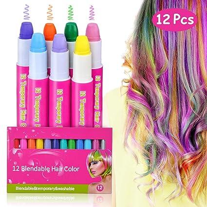 Amazon.com: 12 unidades de tiza para el pelo para niñas de ...