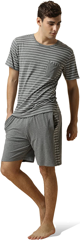 QIANXIU Men's Summer Striped Pyjamas Short Sleeve Pajamas Casual Shorts & Shirt PJ Set, S-XL