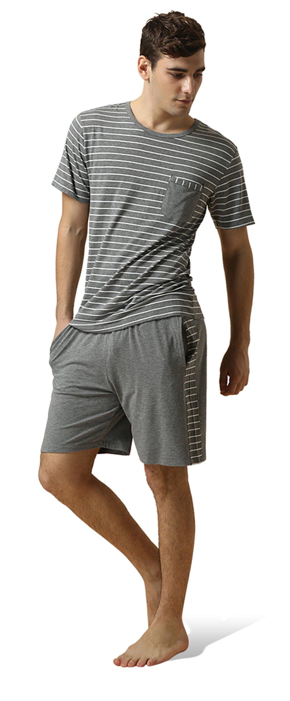 QIANXIU Men's Summer Short Sleeve Pajamas Casual Striped Shorts & Shirt PJ Set, Grey, Large