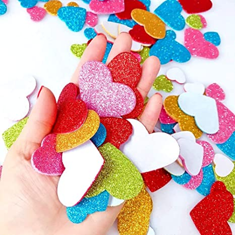 heart For Kids Craft Embellishments for Decorating Scrapbooking /& Card Making Colorful Foam Stickers knowing 100pcs Glitter Heart Foam Stickers Mixed Colors