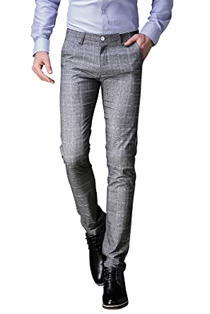 FLY HAWK Mens Plaid Dress Pants, Wrinkle-free Slim Fit Tapered ...