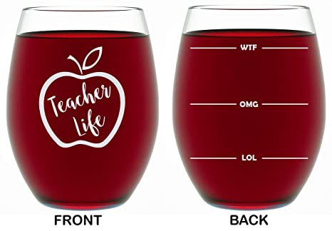Christmas Presents For Women.Teacher Gifts For Women Or Men Appreciation Gifts 15 Oz Stemless Wine Glass Teacher Life Funny Christmas Presents For Teachers Or Professors