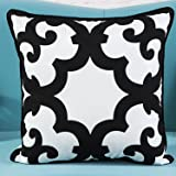 L&J.ART 18'' Black & White Abstract/Geometric Cotton Canvas Pillow Cushion Cover HB7
