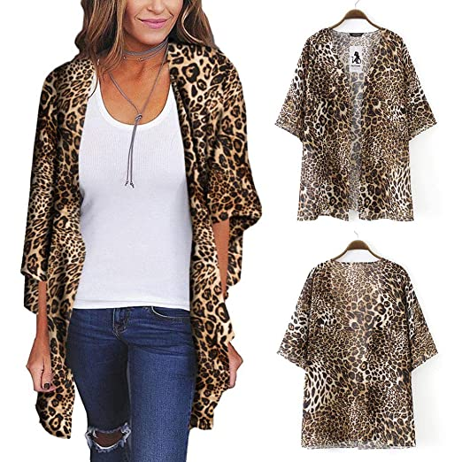 2e680e8b57fb9b Makaor Valentine Women s Leopard Oversize Chiffon Cardigan Casual Blouse  Tops at Amazon Women s Clothing store