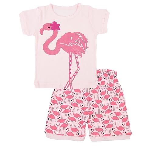 tkria girls christmas pyjamas set cute kids long sleeve cotton flamingo pjs sleepwear tops shirts