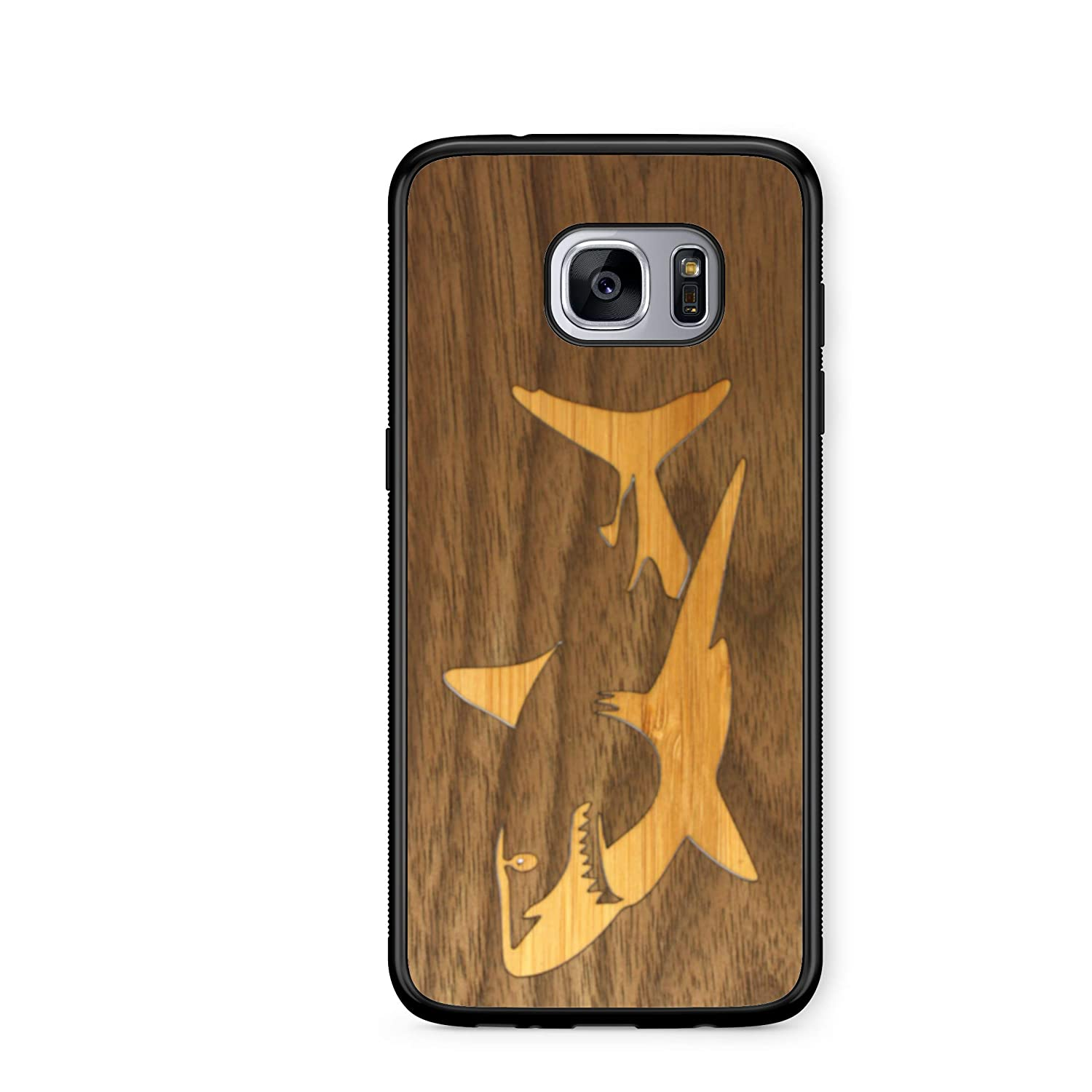 Wooden Phone Case Bamboo Shark In Black Walnut Ocean Compatible With Galaxy S7 Edge Samsung Galaxy S7 Edge