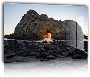 """Abstract Rock Door Landscape Wall Art for Living Room, Bedding Room Decoration Eco-friendly HD Aluminum Metal Print Nature Landscape Wall Decor 16x24"""" Easy to Hang for European Minimalist Style"""