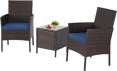 Crownland Patio Furniture 3 Piece Outdoor Bistro Table Set Wicker Chair