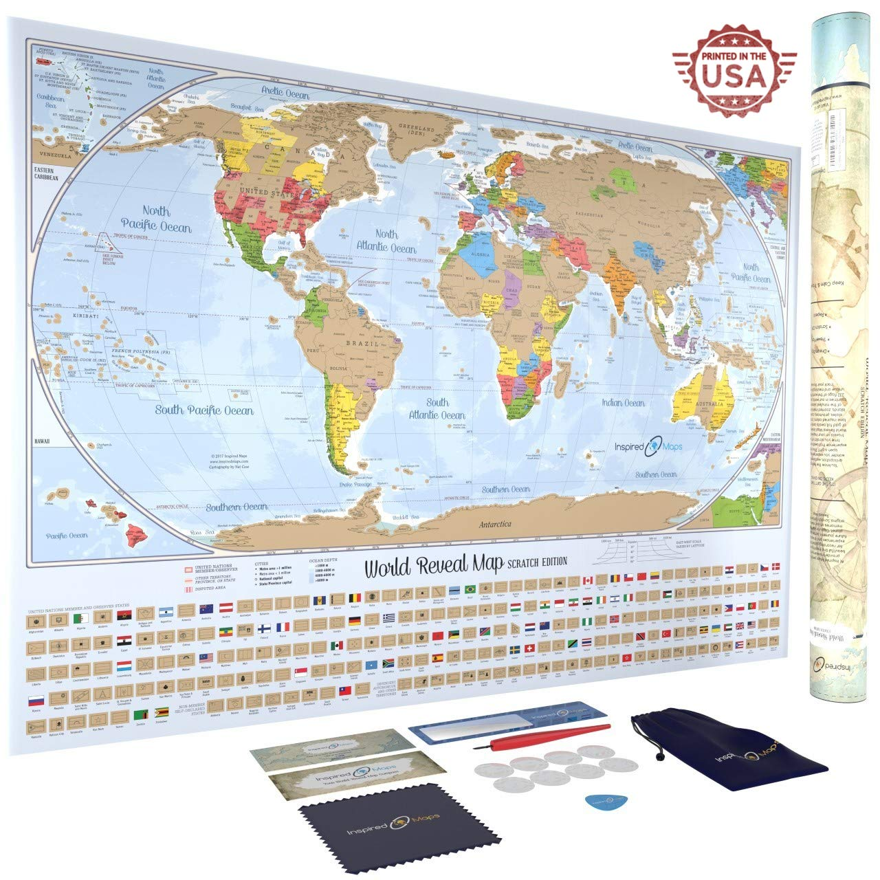 Scratch off World Map Poster with 232 World Flags 34 by 24 inches US States  and Canadian Provinces Outlined Designed and Printed in the USA ...