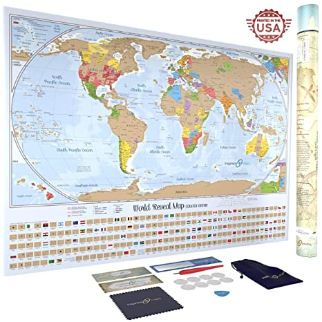 Map Of Canada Provinces And Us States.Scratch Off World Map Poster With 232 World Flags 34 By 24 Inches Us States And Canadian Provinces Outlined Designed And Printed In The Usa