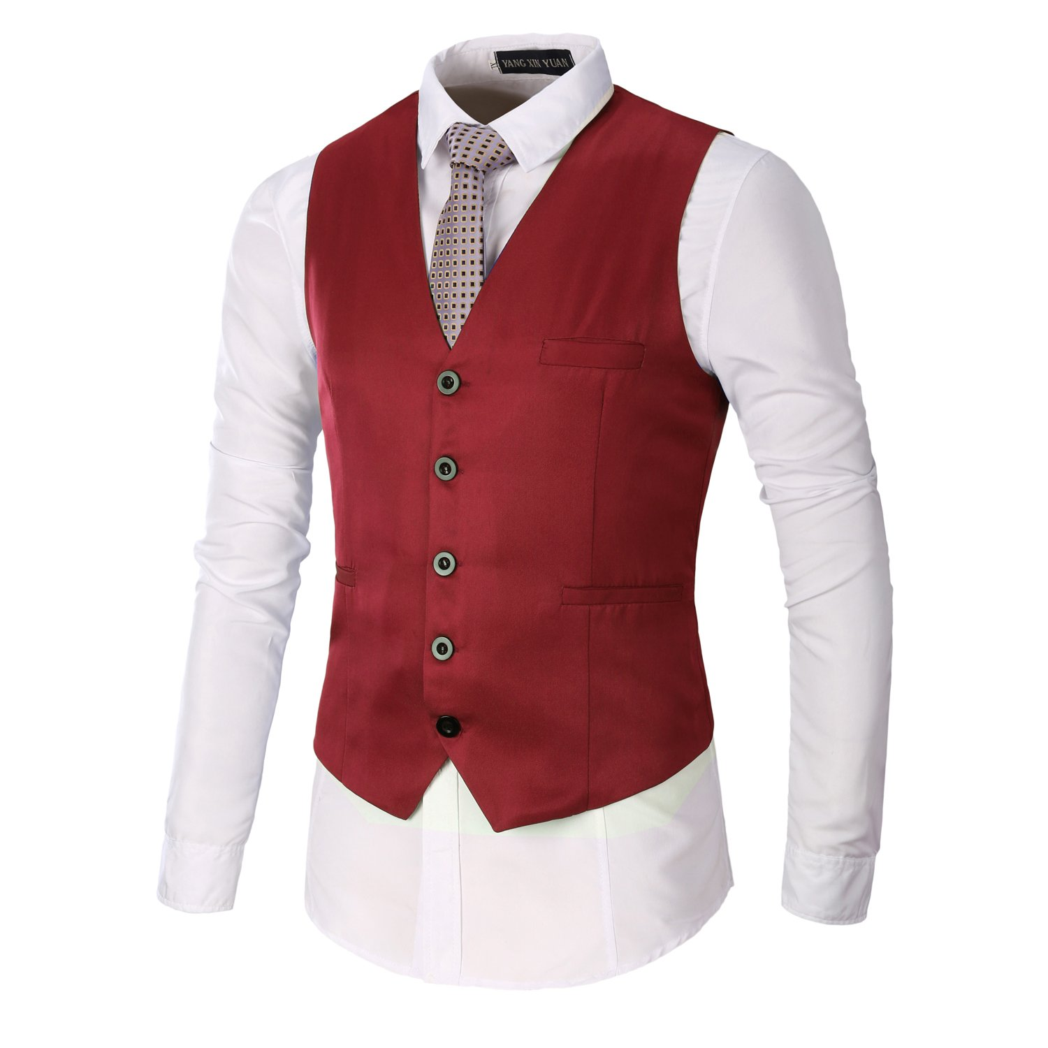 Men's Vintage Vests, Sweater Vests AOYOG Mens Business Suit Vests Waistcoat Slim Fit for Suit or Tuxedo $20.99 AT vintagedancer.com