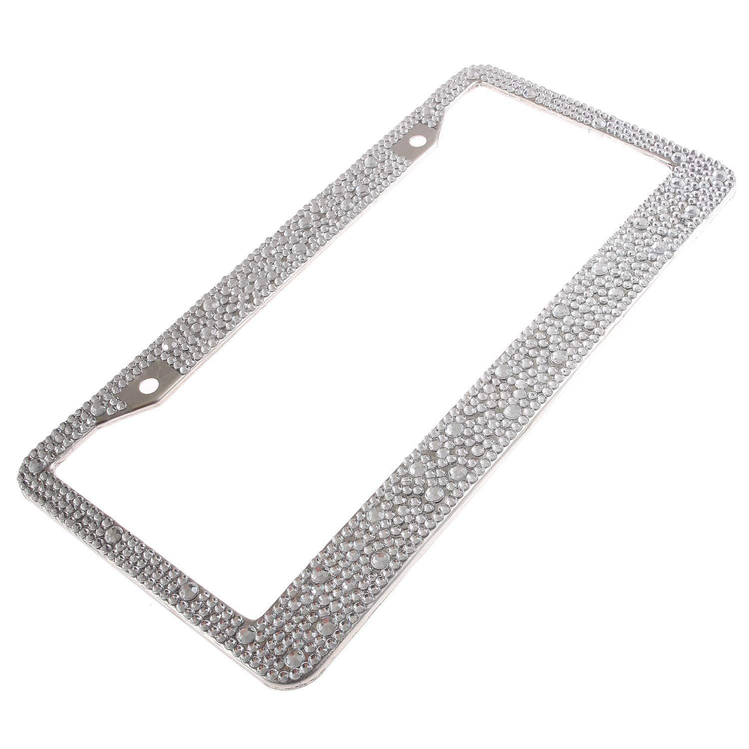 Handmade Waterproof Mixed Size Clear Stone Bling Crystal License Plate Frame Cute Rhinestone License Plate Holder for Cars//SUV//Truck