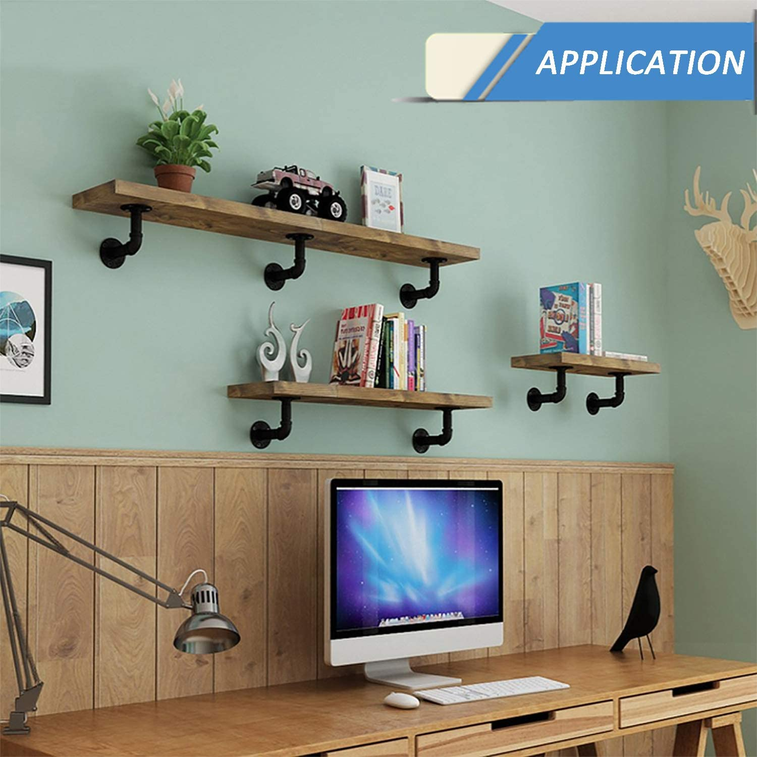Pipe Shelf Brackets Vintage Look Industrial DIY L Pipe Floating Shelf Brackets for Custom Wood Shelves 6 Pack Black 12X17 All Metal Rustic Iron Pipe Decor Wall Mounted with Hardware Needed