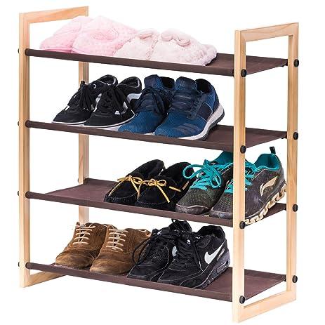 stackable shoe rack maidmax 4 tier shoe storage rack shelf organizer with wooden frame u0026