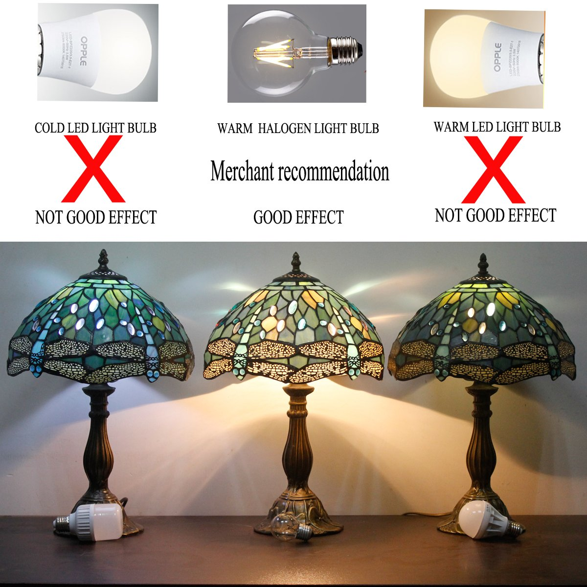 Tiffany Lamp With Sea Blue Stained Glass and Crystal Bead Dragonfly Table Lamp In Height 18 Inch For Living Room by WERFACTORY (Image #4)