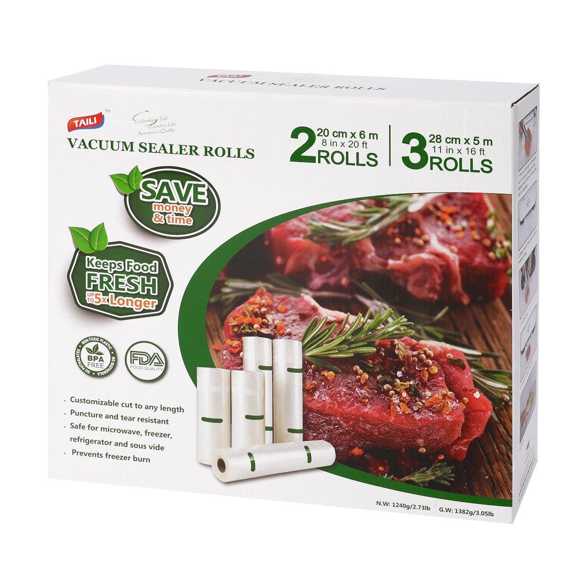 TAILI 5 Vacuum Food Sealer Rolls (3 Rolls 11'' x16.4' + 2 Rolls 8'' x20') BPA Free, Commercial Grade, Great for Food Saver Storage, Microwave & Freezer Safe