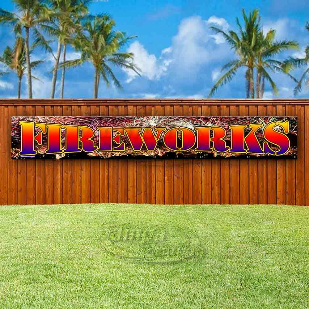 Flag, New Advertising Store Fireworks Extra Large 13 oz Heavy Duty Vinyl Banner Sign with Metal Grommets Many Sizes Available