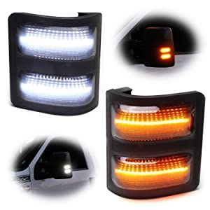 iJDMTOY Switchback LED Side Mirror Marker Lamps For 2008-16 Ford F250 F350 F450 Super Duty, (2) Smoked Lens, White LED Parking Light, Amber LED Turn Signal Light