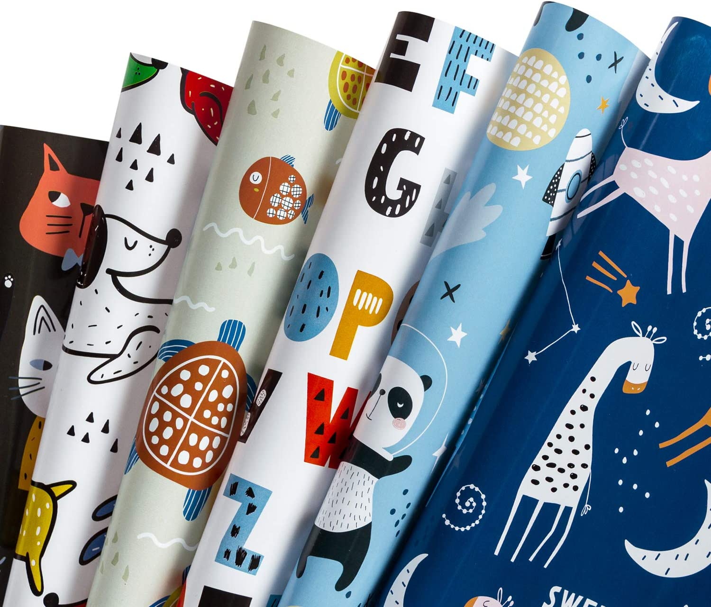 RUSPEPA Hoja De Papel De Envoltura De Regalos - Diseño Animal Lindo Para Cumpleaños, Vacaciones, Fiesta, Baby Shower - 1 Rollo Contiene 6 Hojas - 44.5 X 76CM Por Hoja