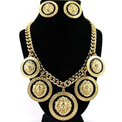 8e856375f8e062 Amazon.com: GALHAM - Basketball Wives Hip Hop Rihanna Celebrity Inspired 5 Lion  Head Gold Chain Link Statement Necklace & Earrings Set: Jewelry Sets: ...