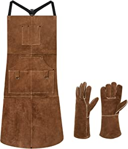 "eletecpro Length 42"" 6 Pockets Leather Welding Apron & Welding Gloves Cowhide Fire/Heat Resistant Shop Apron Men/Women(Brown)"