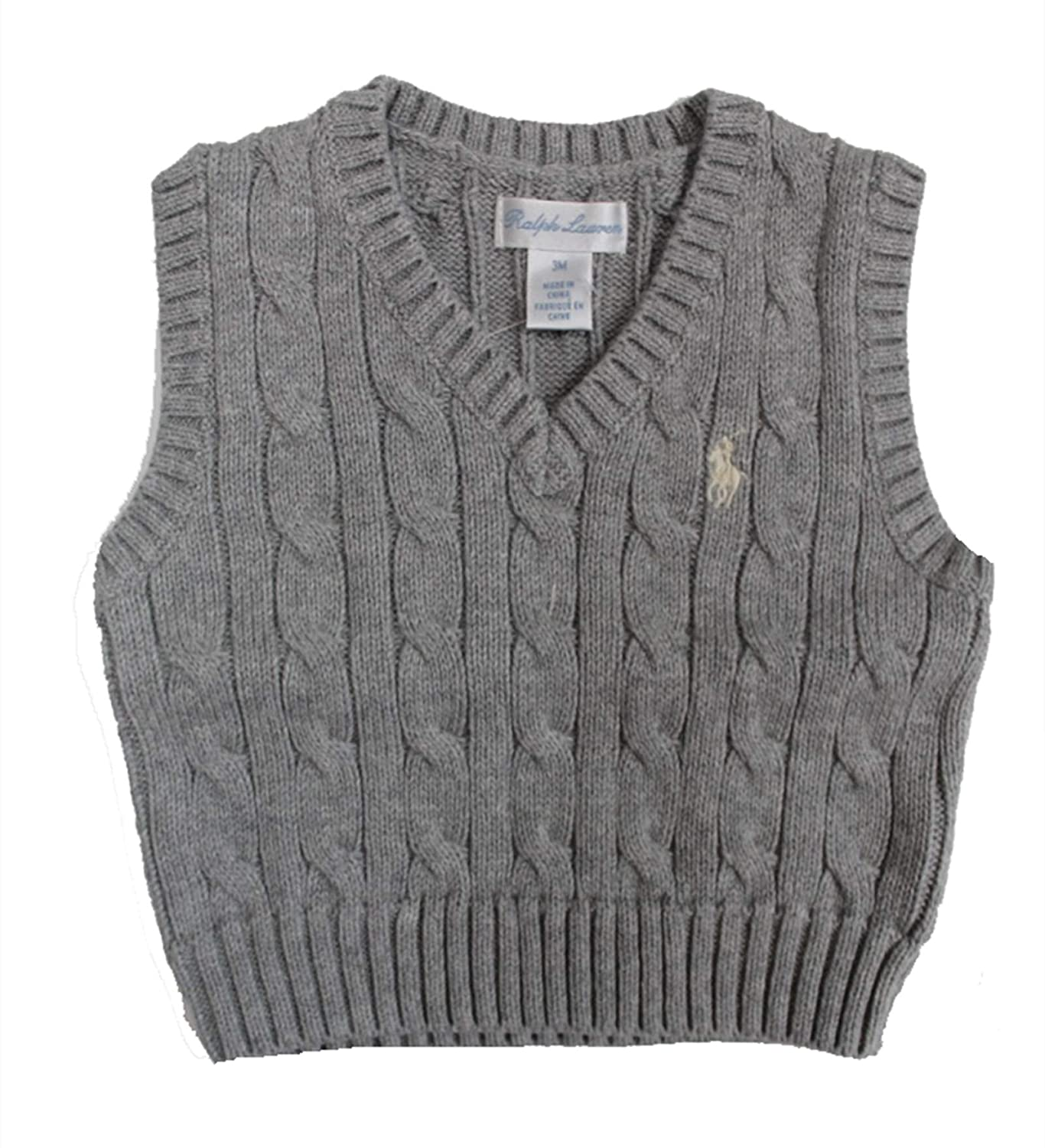 RALPH LAUREN Baby Boy Cable-Knit Cotton Sweater Vest 3 Month Andover Heather