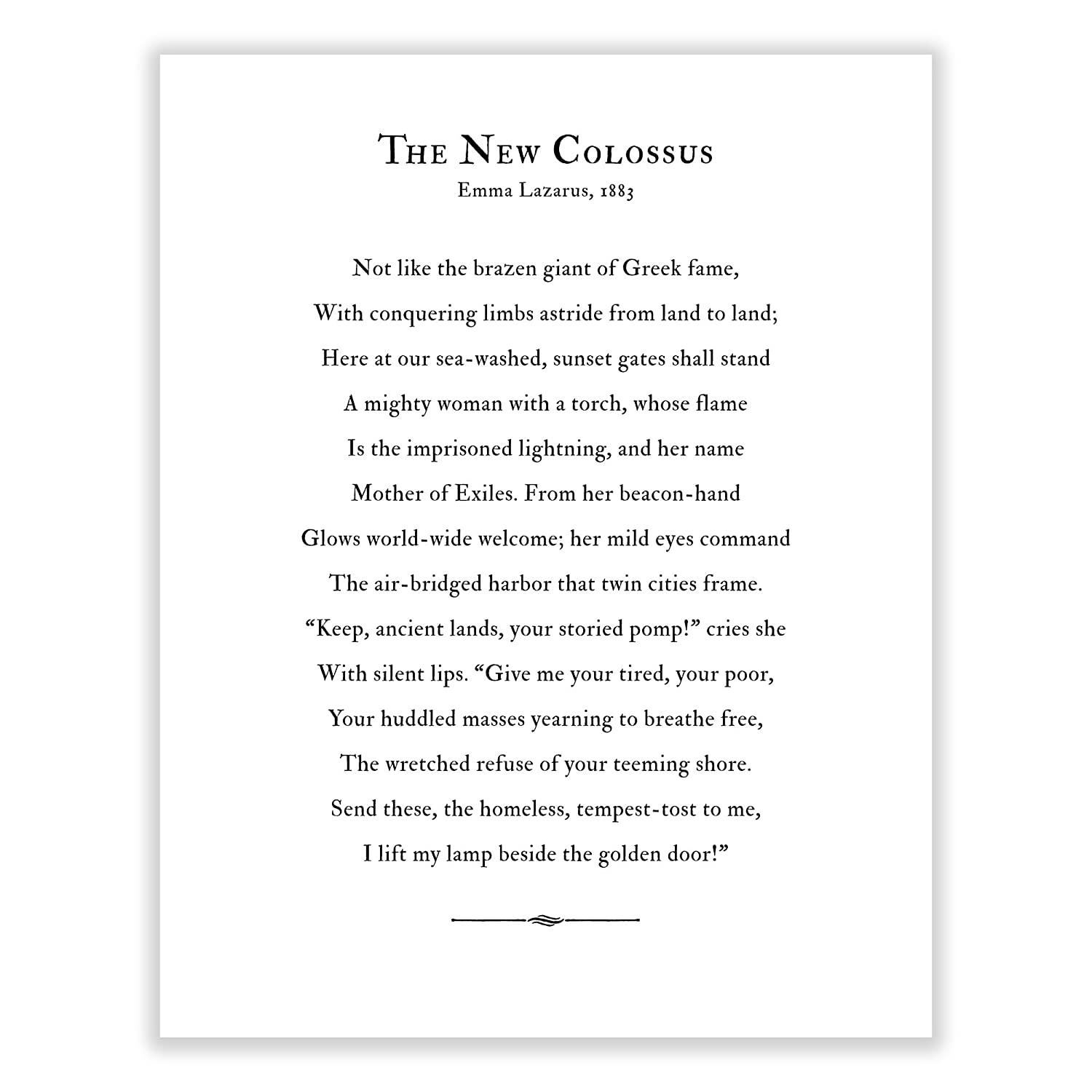 Art Of Observation The New Colossus Poem Archival Print Black And White 16 Inches X 20 Inches