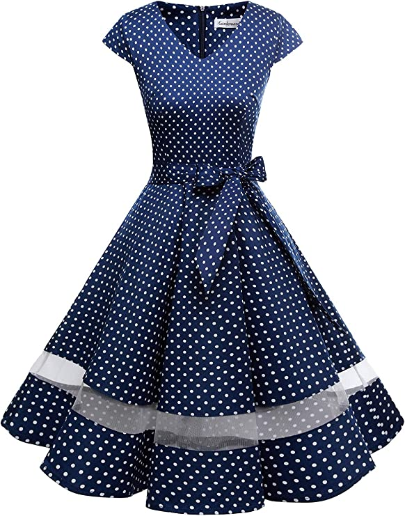 Vintage 50s Dresses: Best 1950s Dress Styles Gardenwed Vintage 1950s Rockabilly Polka Dots Cocktail Dress Cap Sleeve Retro Prom Party Dress £29.99 AT vintagedancer.com