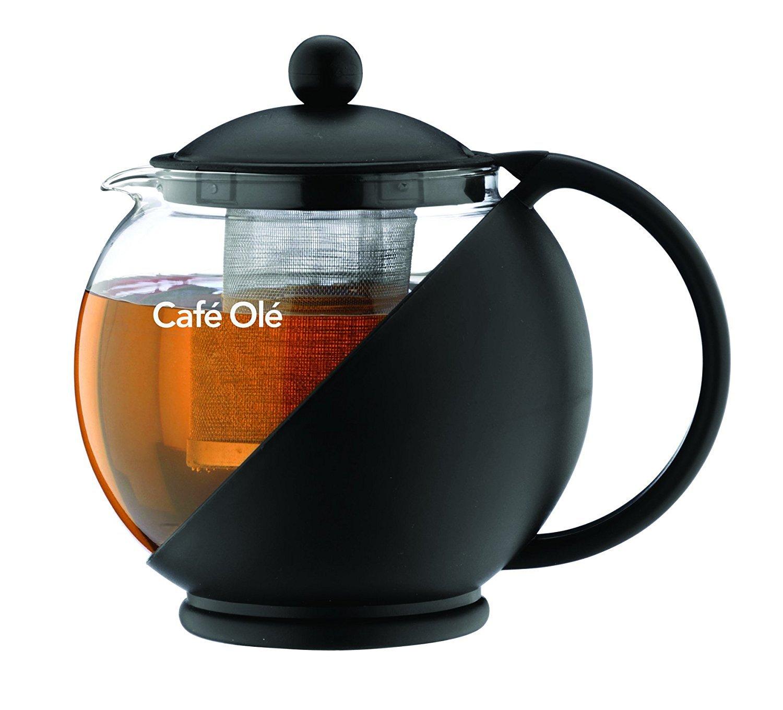Café Ole Pot de thé rond tous les jours Infuseur panier théière en verre feuille lâche, noir, 700 ml / 24 oz product image